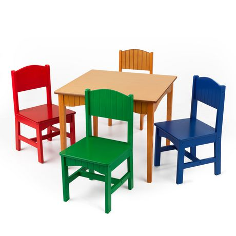 KidKraft Nantucket Table 4 Primary Chairs