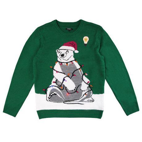 George Men's light up Christmas Sweater-Polar bear - image 2 of 3