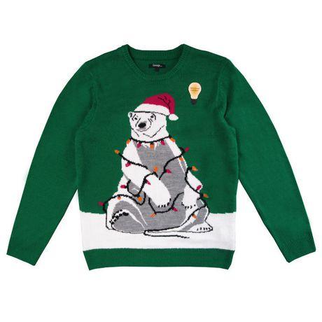 George Men's light up Christmas Sweater-Polar bear - image 1 of 3