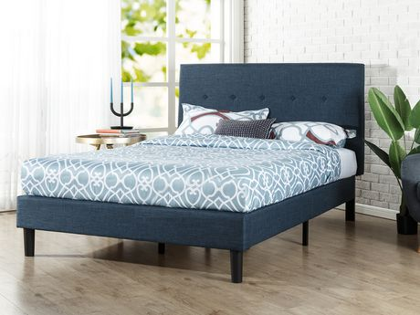 Zinus Upholstered Navy Button Detailed Platform Bed