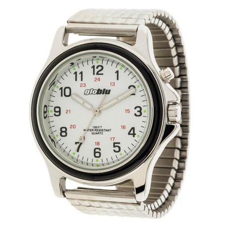 Montre Analogique Extensible Bracelet Hommes Argenté Globlu Pour À IWEDHY29