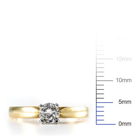 0.30 ct - Round Brilliant Diamond Solitaire Ring in 14kt Yellow Gold - image 4 of 4