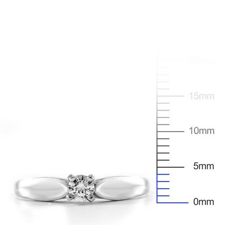 0.15 ct - Round Brilliant Diamond Solitaire Ring in Sterling Silver - image 4 of 4