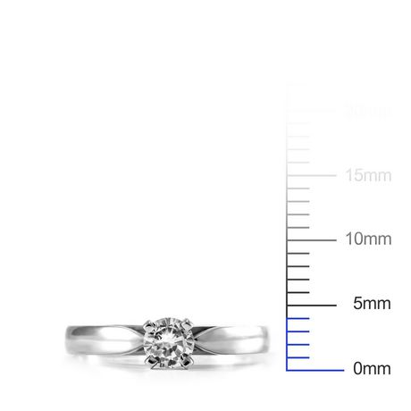 0.20 ct - Round Brilliant Diamond Solitaire Ring in 14kt White Gold - image 4 of 6