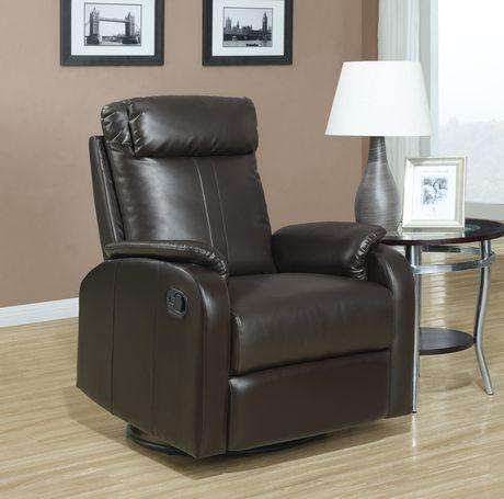 chaise ber ante inclinable et pivotante monarch en cuir bonded brun. Black Bedroom Furniture Sets. Home Design Ideas