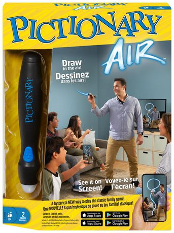Pictionary Air Drawing Family Game box showing father drawing while the family looks on in the living room