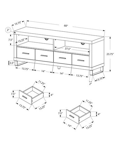 "Monarch Specialties TV Stand With 4 Drawers - Dark Taupe, 60""L - image 2 of 2"