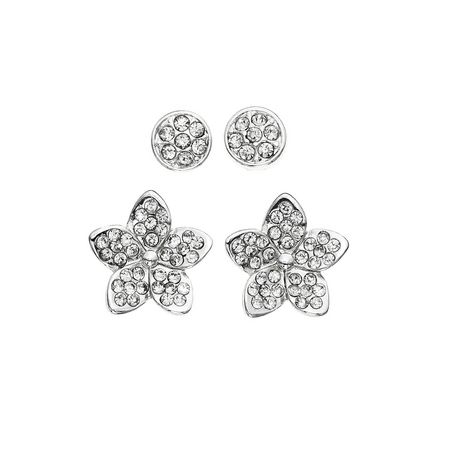 Pair of 14K rhodium-plated round crystal stud earrings and pair of 14K rhodium-plated crystal star earrings, made by TiAmo