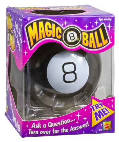Purple and pink box containing black Magic 8 Ball