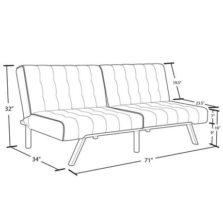 Dhp emily convertible futon black for Chaise longue dwg