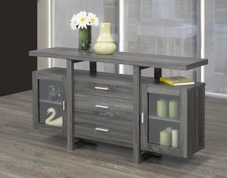 3-Drawer Server with Glass Cabinets, Grey   Walmart Canada