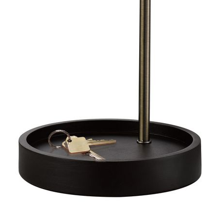 """Kraven 20"""" Table Lamp, Antique Brass Finish, Brown Concave Base, In-Line On/Off Rocker Switch - image 2 of 5"""