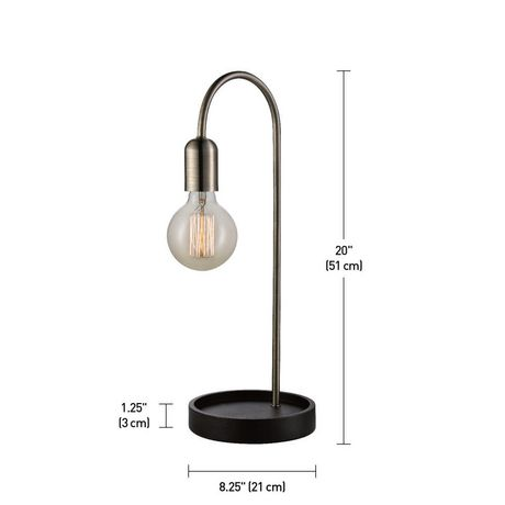"""Kraven 20"""" Table Lamp, Antique Brass Finish, Brown Concave Base, In-Line On/Off Rocker Switch - image 3 of 5"""