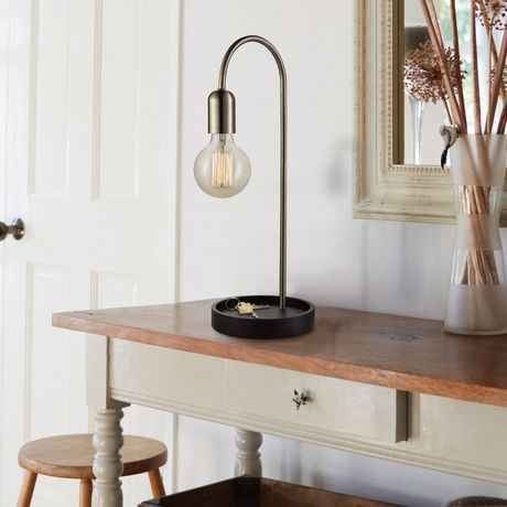 """Kraven 20"""" Table Lamp, Antique Brass Finish, Brown Concave Base, In-Line On/Off Rocker Switch - image 4 of 5"""