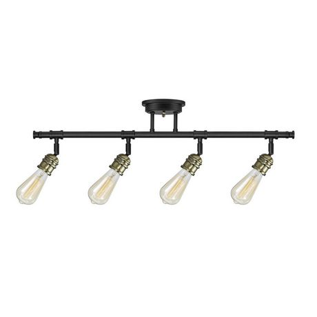 Rennes 4-Light Track Lighting, Dark Bronze Finish, Antique Brass Sockets, Bulbs Included - image 1 of 5