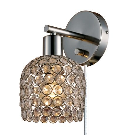 Vendome 1 Light Plug In Or Hardwire Wall Sconce Brushed Steel