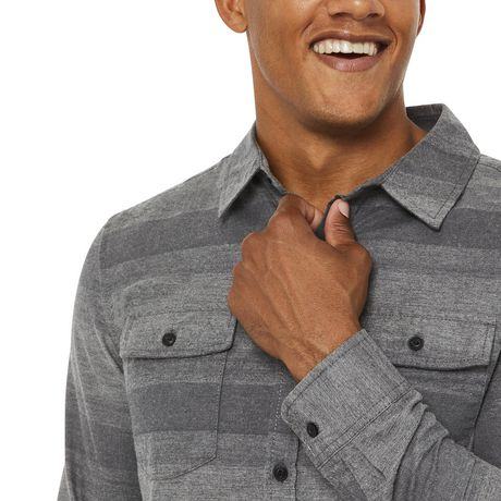 George Men's Herringbone Flannel Shirt - image 4 of 6