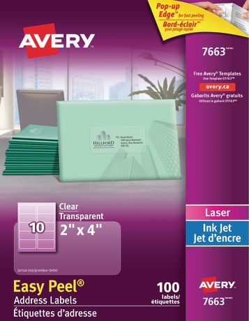 avery clear address labels with easy peel walmart canada