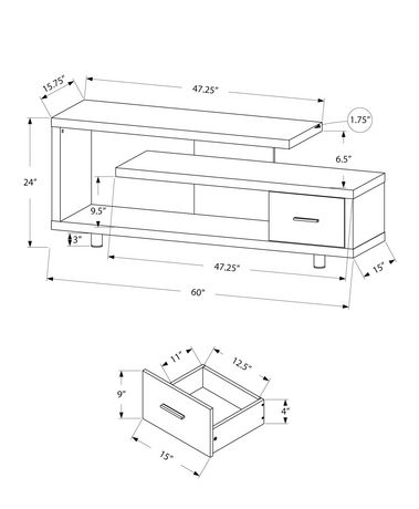 """Monarch Specialties TV Stand - White, 60""""L - image 2 of 3"""