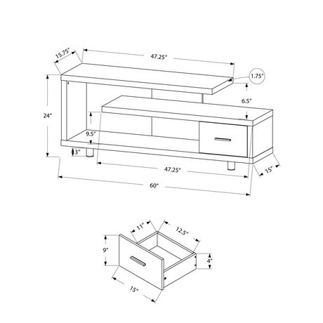"""Monarch Specialties TV Stand - White, 60""""L - image 3 of 3"""