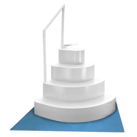 Escalier de piscine hors terre type g teau de mariage avec membrane de sol en blanc de blue wave - Escalier interieur piscine hors sol ...