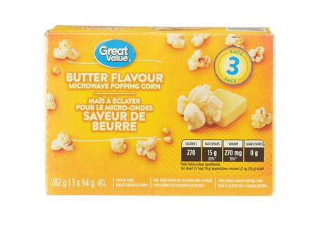 Great Value Butter Flavour Microwave Popcorn - image 1 of 2
