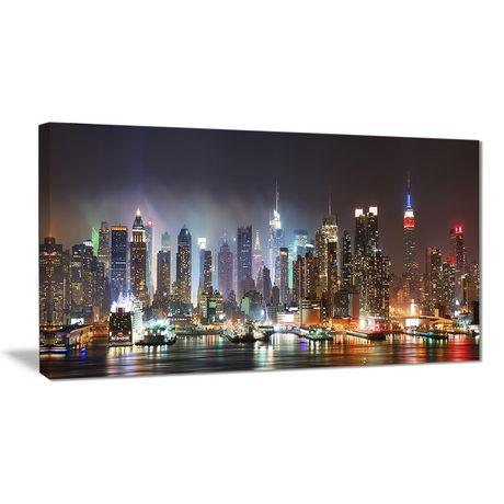 Tableau imprimé sur toile Design Art de photographie Manhattan de New York qui brille - image 1 de 2