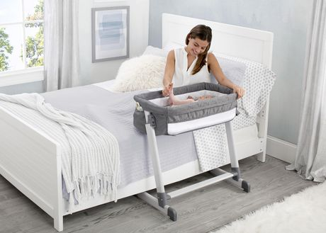 Delta Children By The Bed Deluxe Bassinet, Grey Tweed - image 1 of 8