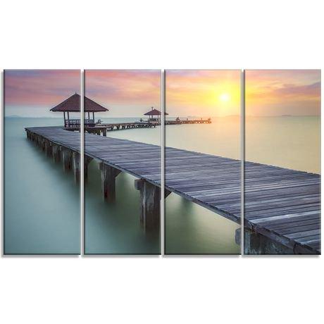 tableau sur toile imprim e design art photographie bord de mer pont en bois de la mer et coucher. Black Bedroom Furniture Sets. Home Design Ideas