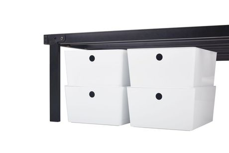 vidaXL Bed Frame Bedroom Furniture Bed Accessory Single One Person Slatted Base Frame Bedstead for Children Adults Black Metal 90x200cm