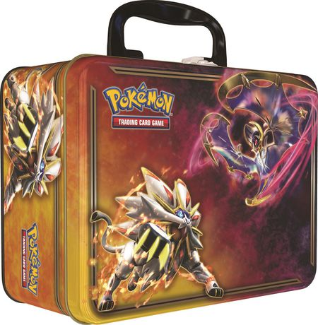 Metal box container with carrying handle containing Pokemon cards, coin, mini album and sticker sheet