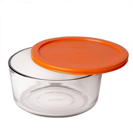 Pyrex 7 Cup Round Glass Container With Orange Plastic