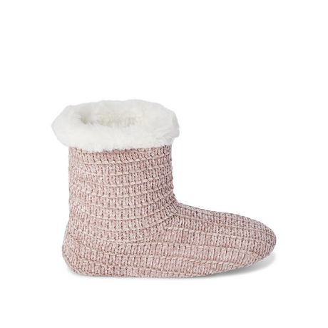 Pink bootie slippers with faux fur topline, made by George
