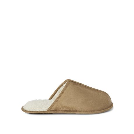 Tan backless slip-on slippers by George with fluffy white interior