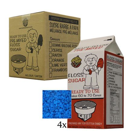 Box of 4 X 3.25 lbs of Blue RaspberryCotton Candy Floss Sugar - image 1 of 2