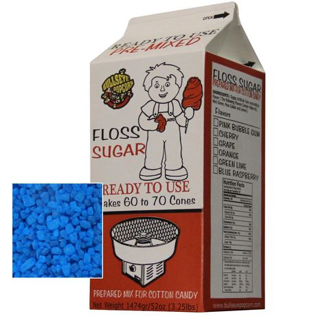 Box of 4 X 3.25 lbs of Blue RaspberryCotton Candy Floss Sugar - image 2 of 2