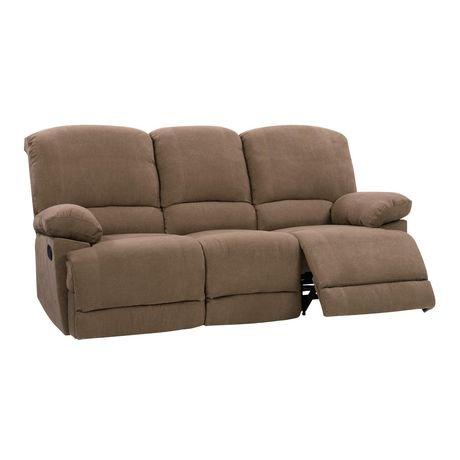 Corliving Lea Brown Chenille Fabric Reclining Sofa