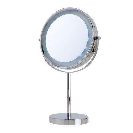 Miroir De Coiffeuse Grossissant Deux En Un Eclairage Del Longue Duree En Plaque Chrome De Danielle