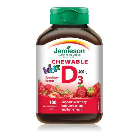 Jamieson Kids Chewable Vitamin D 400 IU Strawberry Tablets - image 1 of 4