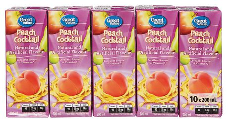 Great Value Peach Cocktail Juice Boxes - image 1 of 3
