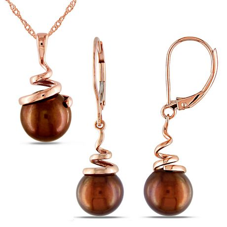 Asteria 8-8.5mm Brown Cultured Freshwater Pearl 14 K Rose Gold Swirl Pendant and Dangle Earrings Set - image 1 of 3
