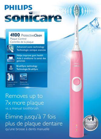 Philips Sonicare ProtectiveClean 4100 Rose Sonic brosse à dents électrique 1 mode de nettoyage 1 fonction BrushSync - image 1 de 4