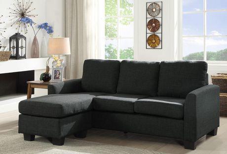 Topline Home Furnishings Grey Reversible Sofa/Chaise - image 1 of 1