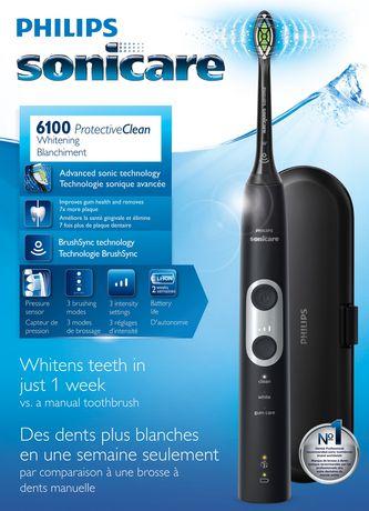 Philips Sonicare ProtectiveClean 6100 NoirBrosse à dents électrique Sonic3 modes, 3 intensités, 2 fonctions BrushSyncValise de voyage. - image 1 de 4