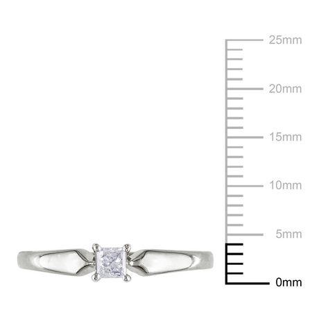 Bague de fiançailles Miabella avec 0.20 carat de diamant solitaire de coupe princesse en or jaune 10k - image 3 de 3