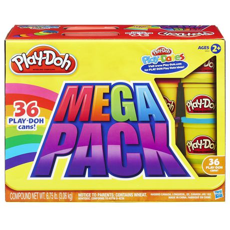 Yellow mega-pack box containing 36 tubes of Play-Doh