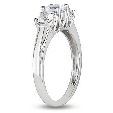 Bague de fiançailles Miabella avec 1.33 carat de saphirs blancs en or blanc 10 K - image 2 de 3