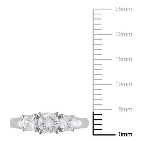 Bague de fiançailles Miabella avec 1.33 carat de saphirs blancs en or blanc 10 K - image 3 de 3