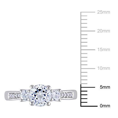 Bague de fiançailles Miabella avec 1.33 carat de saphir blanc synthétique et diamant en or blanc 10k - image 3 de 4