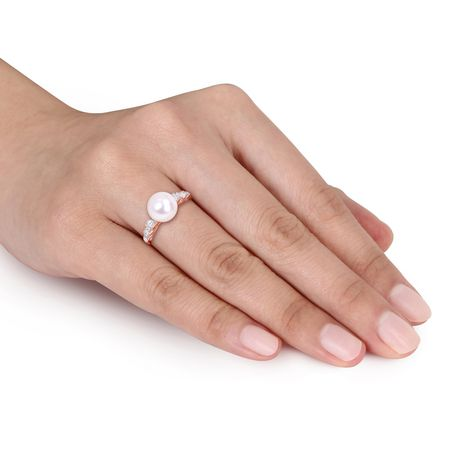 Miabella 9-9.5mm Cultured Freshwater Pearl and 1/8 Carat T.W. Diamond 10K Rose Gold Ring - image 4 of 4